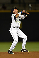 Shortstop Edgardo Fermin (10) of the Columbia Fireflies plays defense in a game against the Augusta GreenJackets on Opening Day, Thursday, April 5, 2018, at Spirit Communications Park in Columbia, South Carolina. Columbia won, 4-2. (Tom Priddy/Four Seam Images)