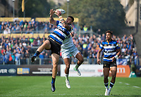 Matt Banahan of Bath Rugby claims the ball in the air. Aviva Premiership match, between Bath Rugby and Saracens on September 9, 2017 at the Recreation Ground in Bath, England. Photo by: Patrick Khachfe / Onside Images