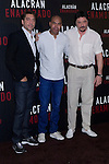 04.05.2012. Presentation at the Hotel Me Madrid in the film ´Alacrán Enamorado´ directed by Santiago A. Zannou produced by Alvaro Longoria and with actors Carlos Bardem, Javier Bardem, Miguel Angel Silvestre, Alex Gonzalez and Judith Diakhate. In the image Javier Bardem, Santiago A. Zannou and actor Carlos Bardem  (Alterphotos/Marta Gonzalez)