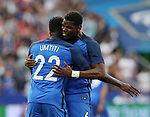 France's Paul Pogba celebrates with goalscorer Samuel Umtiti during the Friendly match at Stade De France Stadium, Paris Picture date 13th June 2017. Picture credit should read: David Klein/Sportimage