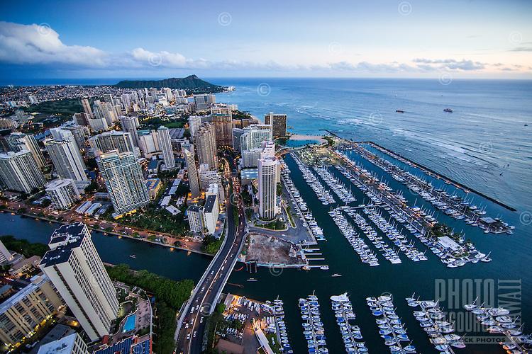Ala Wai Canal and Harbor, Waikiki, Honolulu, O'ahu.