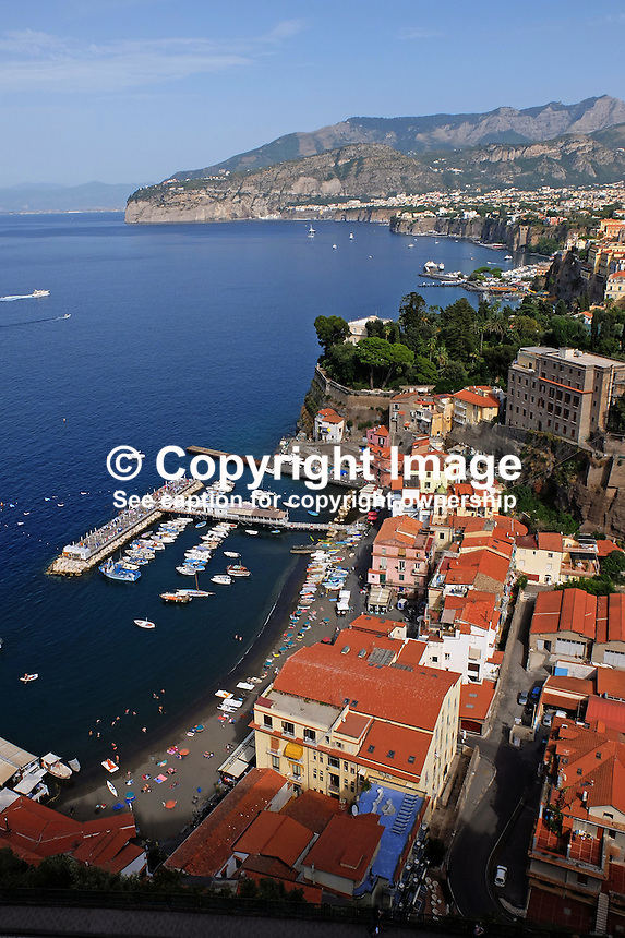 GV, general view, Sorrento, Italy, from rooftop restaurant, Hotel Bristol, September, 2015, 201509161571<br /> <br /> Copyright Image from Victor Patterson, 54 Dorchester Park, Belfast, UK, BT9 6RJ<br /> <br /> t1: +44 28 9066 1296<br /> t2: +44 28 9002 2446<br /> m: +44 7802 353836<br /> e: victorpatterson@me.com<br /> <br /> www.victorpatterson.com<br /> <br /> IMPORTANT: Please see my Terms and Conditions of Use at www.victorpatterson.com