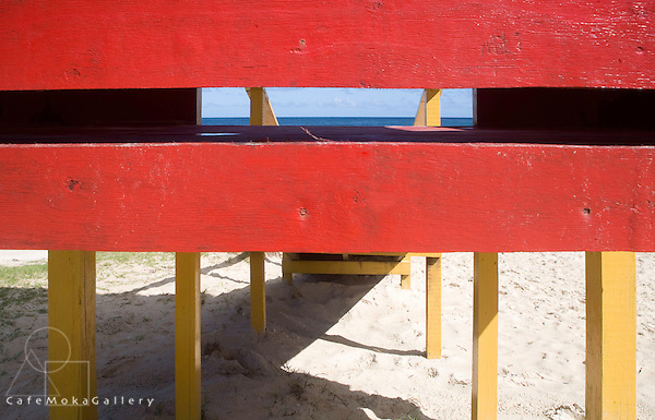 Beach colours and shapes - lifeguard hut at Maracas Bay