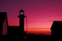 lighthouse, sunrise, Gaspe Peninsula, Quebec, Sainte-Madelaine-de-la-Riviere-Madelaine, Canada, Gulf of St. Lawrence, Cap Madelaine lighthouse at sunrise on Cap Madelaine on the Gaspe Peninsula on the St. Lawrence River in Quebec.