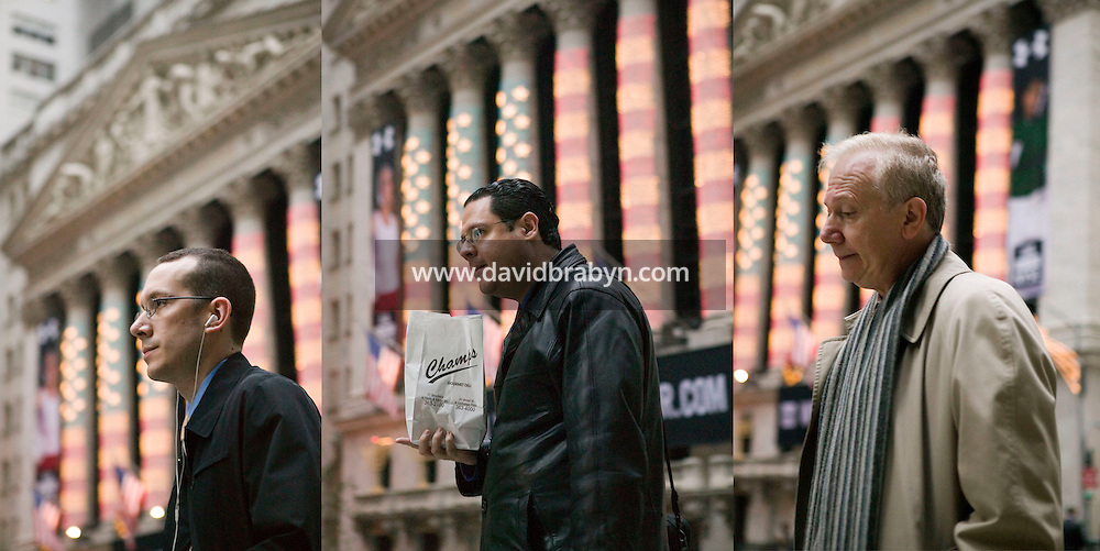 18 December 2006 - New York City, NY - Photo illustration of three images showing people walk by the New York Stock Exchange in the financial district of Manhattan in New York City, NY, as offices open, 18 December 2006.