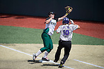 21 MAY 2016:  Tiffany Hollingsworth (4) of Humboldt State University and Peyton DeLong (10) of the University of North Alabama collide at first base during the Division II Women's Softball Championship held at the Regency Athletic Complex on the Metro State University campus in Denver, CO.  North Alabama defeated Humboldt State 4-1 to win the national title.  Jamie Schwaberow/NCAA Photos