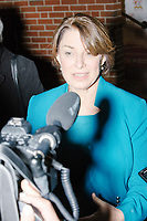Democratic presidential candidate and Minnesota senator Amy Klobuchar speaks to the media as she arrives at the Red Arrow Diner for a campaign stop in Manchester, New Hampshire, on Wed., October 16, 2019. The event was part of a 10-county tour of New Hampshire and started the day after the 4th Democratic debate, in which analysts said Klobuchar performed well. <br />  The Red Arrow Diner has been a frequent stop for presidential candidates in New Hampshire for decades.