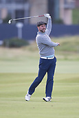 3rd October 2017, The Old Course, St Andrews, Scotland; Alfred Dunhill Links Championship, practice round; Singer Brian McFadden watches to see where his shot has gone on the second hole on the Old Course, St Andrews during a practice round ahead of the Alfred Dunhill Links Championship