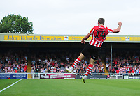 Lincoln City's Harry Toffolo celebrates scoring his sides third goal<br /> <br /> Photographer Chris Vaughan/CameraSport<br /> <br /> The EFL Sky Bet League Two - Lincoln City v Swindon Town - Saturday 11th August 2018 - Sincil Bank - Lincoln<br /> <br /> World Copyright &copy; 2018 CameraSport. All rights reserved. 43 Linden Ave. Countesthorpe. Leicester. England. LE8 5PG - Tel: +44 (0) 116 277 4147 - admin@camerasport.com - www.camerasport.com