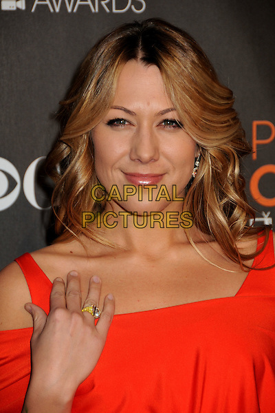COLBIE CAILLAT.36th Annual People's Choice Awards - Arrivals held at the Nokia Theatre LA Live, Los Angeles, California, USA..January 6th, 2009.headshot portrait hand ring orange cut out shoulders coral red  .CAP/ADM/BP.©Byron Purvis/AdMedia/Capital Pictures.