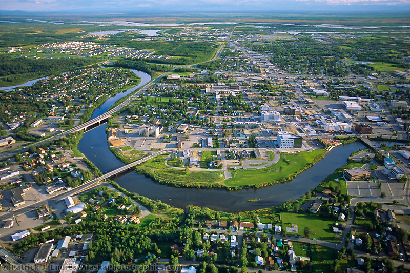 Aerial view of the Downtown Fairbanks, Chena river, Tanana river and Tanana Valley to the south, Alaska range on horizon, Alaska, Fairbanks.