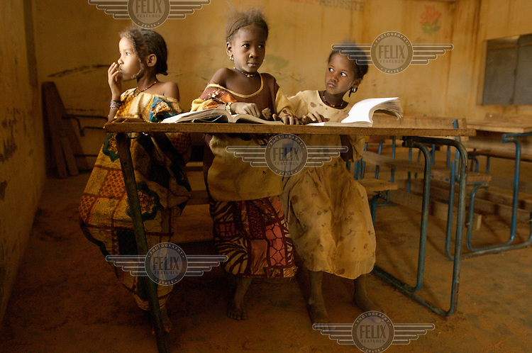 Girls in a classroom at the school in the village of Intedeyne. /Felix Features