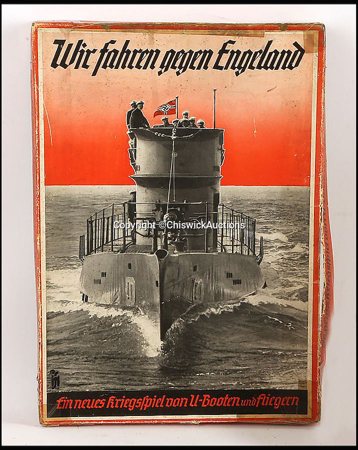 BNPS.co.uk (01202 558833)<br /> Pic: ChiswickAuctions/BNPS<br /> <br /> Who do you think you are kidding Mr Hitler...<br /> <br /> A rare German board game in which children conquered Britain with U-Boats, fighter planes and bomber aircrafts has emerged to reveal the depths of Nazi propaganda. <br /> <br /> The six player game, created at the start of the Second World War, was entitled 'Wir Fahren Gegen Engeland' - 'We drive against England'