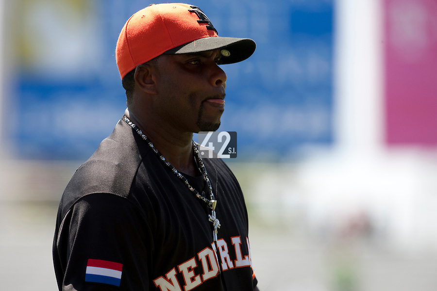 7 March 2009: #35 Randall Simon of the Netherlands is seen during the 2009 World Baseball Classic Pool D match at Hiram Bithorn Stadium in San Juan, Puerto Rico. Netherlands pulled off a huge upset in their World Baseball Classic opener with a 3-2 victory over Dominican Republic.
