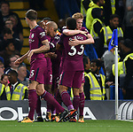 Kevin De Bruyne of Manchester City celebrates scoring his goal to make it 1-0 with team mate Gabriel Jesus of Manchester City during the premier league match at the Stamford Bridge stadium, London. Picture date 30th September 2017. Picture credit should read: Robin Parker/Sportimage