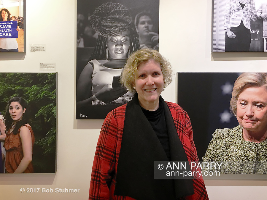 "Huntington, New York, USA. March 5, 2017.  Ann Parry at Opening Reception for ""Her Story Through Art"" Invitational Art Show, celebrating Women's History Month, at Huntington Arts Council, Main Street Gallery. Artists Tara Leale Porter, Irene Vitale, Anahi DeCanio, Ann Parry, Show March 2 - 25, 2017."