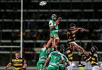 Jackson Hemopo of Manawatu looks to take a lineout during the Mitre 10 Cup Ranfurly Shield Rugby Match between Taranaki and Manawatu at Yarrow Stadium, New Plymouth, Auckland,  New Zealand. Wednesday 11th October 2017. Photo: Simon Watts / www.bwmedia.co.nz
