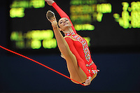 September 7, 2009; Mie, Japan;  Anna Bessonova of Ukraine split leaps at 2009 World Championships Mie during qualifying round. Anna was the 2007 AA world champion at Patras, Greece in the individual All Around. Photo by Tom Theobald.