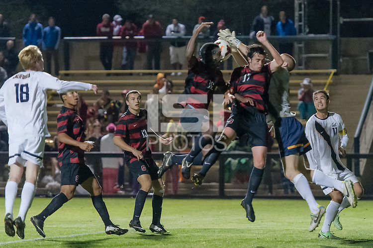 November 13, 2013:  Matt Taylor and Austin Meyer during the Stanford vs Cal men's soccer match in Stanford, California.  Stanford won 2-1 in overtime.