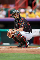 Erie SeaWolves catcher Jake Rogers (7) looks into the dugout during a game against the New Hampshire Fisher Cats on June 20, 2018 at UPMC Park in Erie, Pennsylvania.  New Hampshire defeated Erie 10-9.  (Mike Janes/Four Seam Images)