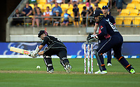 Kane Williamson bats during the One Day International cricket match between the New Zealand Black Caps and England at the Westpac Stadium in Wellington, New Zealand on Friday, 2 March 2018. Photo: Dave Lintott / lintottphoto.co.nz