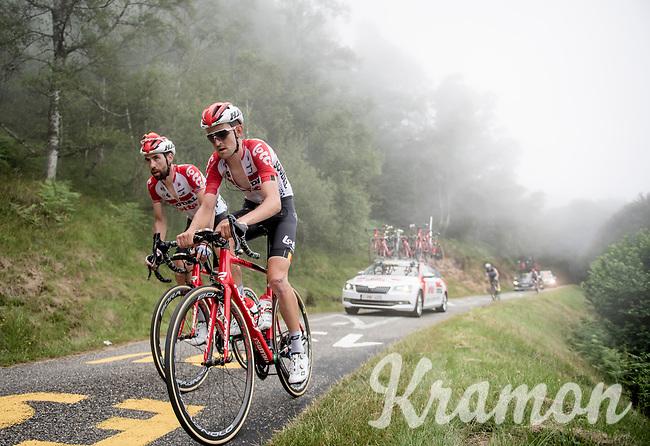 Tiesj Benoot (BEL/Lotto-Soudal) & Thomas de Gendt (BEL/Lotto-Soudal) up the very steep section (+16%) of the Mur de Péguère (Cat1/1375m/9.3km/7.9%)<br /> <br /> Stage 15: Limoux to Foix(185km)<br /> 106th Tour de France 2019 (2.UWT)<br /> <br /> ©kramon