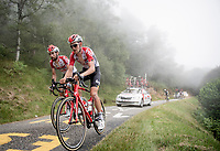 Tiesj Benoot (BEL/Lotto-Soudal) & Thomas de Gendt (BEL/Lotto-Soudal) up the very steep section (+16%) of the Mur de Péguère (Cat1/1375m/9.3km/7.9%)<br /> <br /> Stage 15: Limoux to Foix (185km)<br /> 106th Tour de France 2019 (2.UWT)<br /> <br /> ©kramon