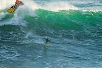 Nazare, Praia do Norte /Portugal (Sunday, October 21, 2012)  Garrett McNamara (HAW), Joel Parkinson (AUS) and Joao de Macedo (PRT) shared a tow in session at Nazare's Praia do Norte today, the site of the world's largest wave ever ridden. -  Photo: joliphotos.com
