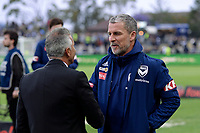 17th November 2019; Jubilee Oval, Sydney, New South Wales, Australia; A League Football, Sydney Football Club versus Melbourne Victory; Victory coach Marco Kurz chats with coach Steve Corica of Sydney before kick off