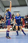 Mannheim, Germany, January 03: During the 1. Bundesliga women indoor hockey match between TSV Mannheim and Mannheimer HC on January 3, 2020 at Primus-Valor Arena in Mannheim, Germany. Final score 4-4. (Photo by Dirk Markgraf / www.265-images.com) *** Stine Kurz #27 of Mannheimer HC, Charlotte Gerstenhoefer #28 of Mannheimer HC