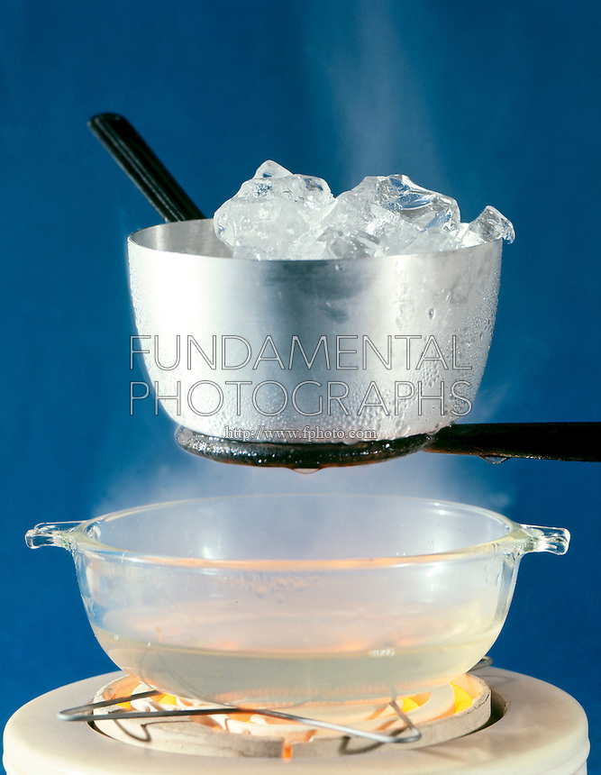 THREE STATES OR PHASES OF WATER<br /> Solid Ice, Gaseous Vapor &amp; Liquid<br /> Steam rises from water heated to boiling on an electric hot plate and condenses on cold aluminum metal pot filled with ice cubes.