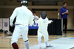 11 February 2017: Duke's Aidan McGinnis (right) competes against Boston College's MacGregor Mooney (left) in Epee. The Duke University Blue Devils hosted the Boston College Eagles at Card Gym in Durham, North Carolina in a 2017 College Men's Fencing match. Duke won the dual match 18-9 overall, 9-0 Foil, and 6-3 Saber. Boston College won Epee 6-3.