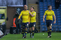 Alex MacDonald of Oxford United congratulates goal scorer Kemar Roofe (left) of Oxford United during the Sky Bet League 2 match between Oxford United and Bristol Rovers at the Kassam Stadium, Oxford, England on 17 January 2016. Photo by Andy Rowland / PRiME Media Images.