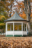 Gazebo on the village green with autumn foilage, Weston, Vermont, USA