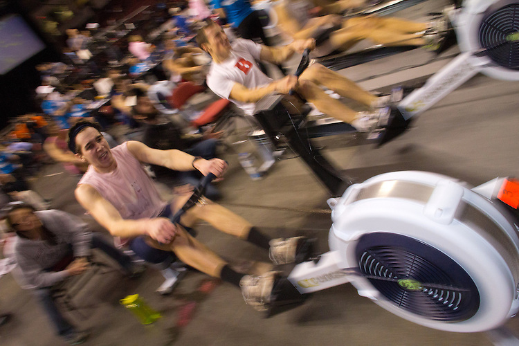 Concept2 Crash-B World Indoor Rowing Championships, 2012, Open Men. athletes compete annually on a Concept2 Indoor Rower for time over 2000 meters, Agganis Arena, Boston University, Boston, Massachusetts,