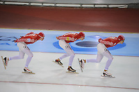 SCHAATSEN: SALT LAKE CITY: Utah Olympic Oval, 16-11-2013, Essent ISU World Cup, Team Pursuit, Ivan Skobrev, Denis Yuskov, Yevgeny Lalenkov (RUS), ©foto Martin de Jong