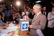 Montreal, Quebec, Canada, May 20th  1980. On May 20 1980, called by the Parti Quebequois (PQ) government, the first referendum on whether Quebec should pursue a path toward sovereignty took place. The OUI (yes) party was defeated by a 59.56 percent to 40.44 percent margin for the NO party. - Rene Levesque, former President of Quebec and founder of the PQ deliver his vote during the referendum.