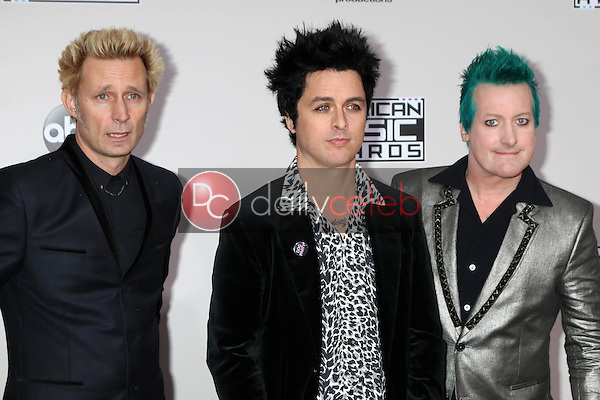 Mike Dirnt, Billie Joe Armstrong, TrŽ Cool, Green Day<br /> at the 2016 American Music Awards, Microsoft Theater, Los Angeles, CA 11-20-16<br /> David Edwards/DailyCeleb.com 818-249-4998