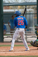 Chicago Cubs center fielder Trey Martin (25) at bat during a Minor League Spring Training game against the Oakland Athletics at Sloan Park on March 13, 2018 in Mesa, Arizona. (Zachary Lucy/Four Seam Images)