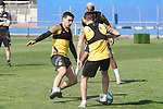 Getafe's Mauro Arambarri (l) and Francisco Portillo during training session. May 25,2020.(ALTERPHOTOS/Acero)