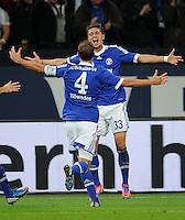FUSSBALL   1. BUNDESLIGA  SAISON 2012/2013   7. Spieltag   FC Schalke 04 - VfL Wolfsburg        06.10.2012 Benedikt Hoewedes und Roman Neustaedter (v.l., beide Schalke) jubeln nach dem 3:0