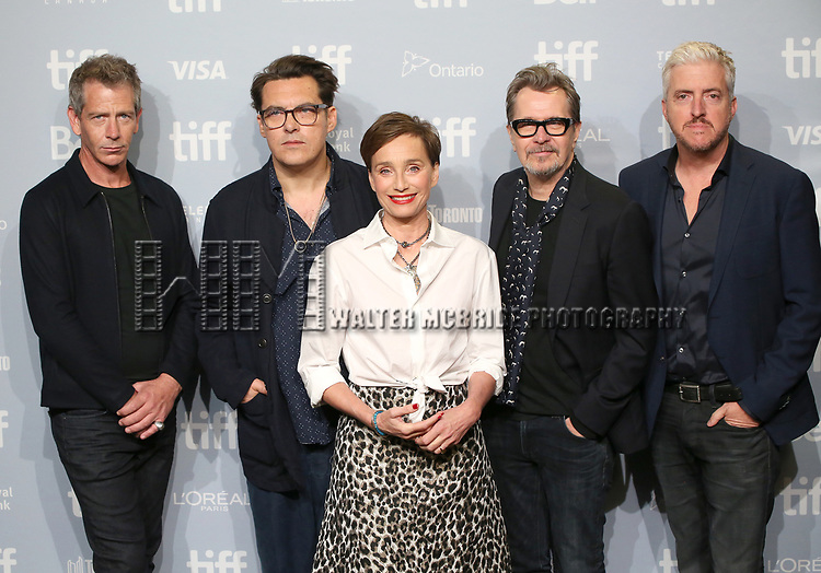 Stephen Dillane, director Joe Wright, Kristin Scott Thomas, Gary Oldman and screenwriter Anthony McCarten attend the 'Darkest Hour' photo call during 2017 Toronto International Film Festival at TIFF Bell Lightbox on September 11, 2017 in Toronto, Canada.