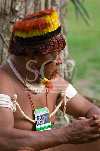 "Altamira, Brazil. ""Xingu Vivo Para Sempre"" protest meeting about the proposed Belo Monte hydroeletric dam and other dams on the Xingu river and its tributaries. Indian camp at Bethania seminary. Upper Xingu chief."