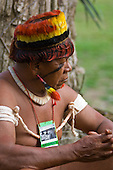 """Altamira, Brazil. """"Xingu Vivo Para Sempre"""" protest meeting about the proposed Belo Monte hydroeletric dam and other dams on the Xingu river and its tributaries. Indian camp at Bethania seminary. Upper Xingu chief."""