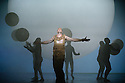 """EMBARGOED UNTIL 7:30pm FRIDAY 4th MARCH 2016: English National Opera presents """"Akhnaten"""", composed by Philip Glass, and directed by Phelim McDermott. Picture shows: Skills ensemble: Gandini Juggling, Zachary James (Scribe)"""