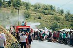 The publicity caravan cools the fans down as it passes by before the race during Stage 8 of the 2019 Tour de France running 200km from Macon to Saint-Etienne, France. 13th July 2019.<br /> Picture: ASO/Thomas Maheux | Cyclefile<br /> All photos usage must carry mandatory copyright credit (© Cyclefile | ASO/Thomas Maheux)