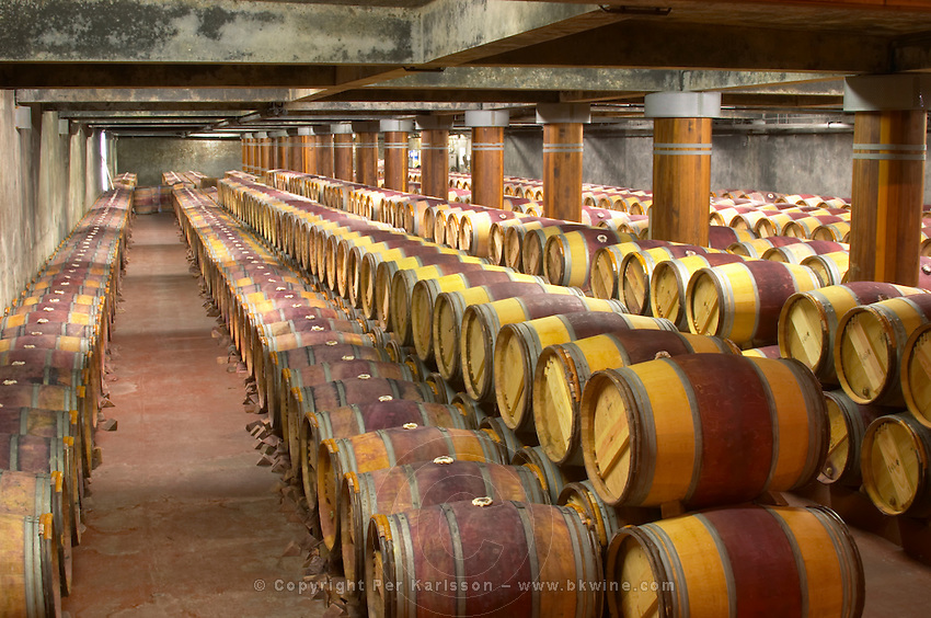Oak barrel aging and fermentation cellar. Chateau Pichon Longueville Comtesse de Lalande, pauillac, Medoc, Bordeaux, France