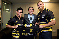 The Lions Brad Shields (R with the Lions jersey during the Wellington Lions season launch at 89 Courtenay Place in Wellington, New Zealand on Friday, 11 August 2017. Photo: Marty Melville / lintottphoto.co.nz
