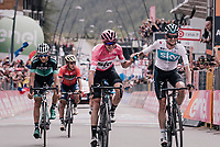 Maglia Rosa / overall leader Chris Froome (GBR/SKY) sprints to the finish line and secures his first Giro victory that way (by keeping closest competitor Dumoulin behind him).<br /> As tomorrow is a more ceremonial criterium in the streets of Rome, teammate Wout Poels (NED/SKY) congratulates Froome crossing the finish line.<br /> <br /> stage 20: Susa - Cervinia (214km)<br /> 101th Giro d'Italia 2018