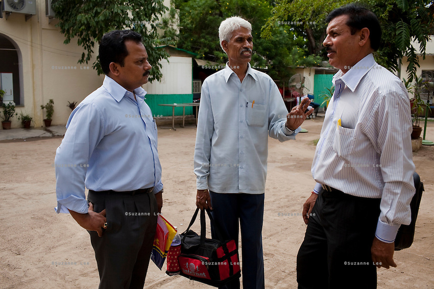 (L-R) Unni Gopan, brother of Shaji Kumar (aged 39), Dadasaheb B Jadhav, father of Swapnil Jadhav (aged 24), and Purshotam Tiwari, father of Dhiraj Kumar (aged 26)..Immediate family members of the 6 Indian sailors, out of 24 international crew members of the M.V. Iceberg 1, held captive by Somali pirates visit the Indian capital of Delhi to hold a press conference in hope of pushing for the release of the hostages. Captured 16 months ago as it was docked at Aden Port, Gulf of Aden, Somalia, MV Iceberg 1 is the longest-held ship by Somali pirates. The Indian sailors are Dheeraj Tiwari, Swapnil Jadhav, Ganesh Mohite, Saji Kumar Purshottam, Santosh Kumar Yadav and Jaswinder Singh. Photo by Suzanne Lee
